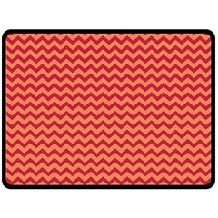 Chevron Wave Red Orange Double Sided Fleece Blanket (large)  by Mariart