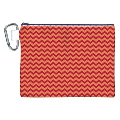 Chevron Wave Red Orange Canvas Cosmetic Bag (xxl) by Mariart