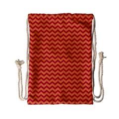 Chevron Wave Red Orange Drawstring Bag (small) by Mariart