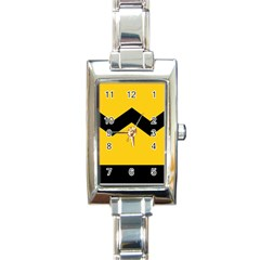 Chevron Wave Yellow Black Line Rectangle Italian Charm Watch by Mariart