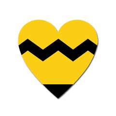 Chevron Wave Yellow Black Line Heart Magnet by Mariart