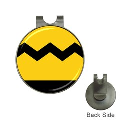 Chevron Wave Yellow Black Line Hat Clips With Golf Markers by Mariart