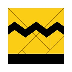 Chevron Wave Yellow Black Line Acrylic Tangram Puzzle (6  X 6 ) by Mariart