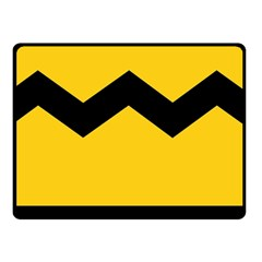 Chevron Wave Yellow Black Line Double Sided Fleece Blanket (small)  by Mariart