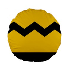 Chevron Wave Yellow Black Line Standard 15  Premium Flano Round Cushions by Mariart