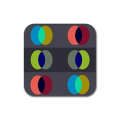 Circles Line Color Rainbow Green Orange Red Blue Rubber Square Coaster (4 Pack)  by Mariart