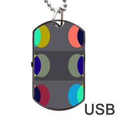 Circles Line Color Rainbow Green Orange Red Blue Dog Tag Usb Flash (two Sides) by Mariart