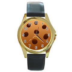 Cookie Chocolate Biscuit Brown Round Gold Metal Watch by Mariart