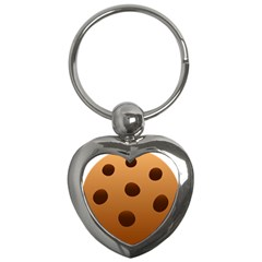 Cookie Chocolate Biscuit Brown Key Chains (heart)  by Mariart