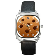Cookie Chocolate Biscuit Brown Square Metal Watch by Mariart