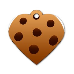 Cookie Chocolate Biscuit Brown Dog Tag Heart (two Sides) by Mariart