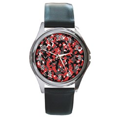 Bloodshot Camo Red Urban Initial Camouflage Round Metal Watch by Mariart