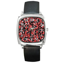 Bloodshot Camo Red Urban Initial Camouflage Square Metal Watch
