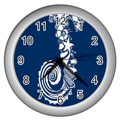 Coral Life Sea Water Blue Fish Star Wall Clocks (silver)  by Mariart