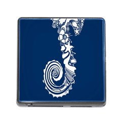 Coral Life Sea Water Blue Fish Star Memory Card Reader (square) by Mariart