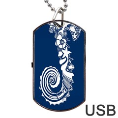 Coral Life Sea Water Blue Fish Star Dog Tag Usb Flash (one Side) by Mariart