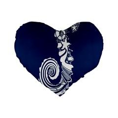 Coral Life Sea Water Blue Fish Star Standard 16  Premium Flano Heart Shape Cushions by Mariart