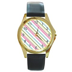 Diagonal Stripes Color Rainbow Pink Green Red Blue Round Gold Metal Watch by Mariart