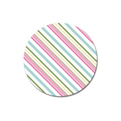 Diagonal Stripes Color Rainbow Pink Green Red Blue Magnet 3  (round) by Mariart