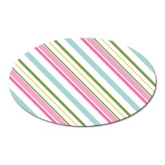 Diagonal Stripes Color Rainbow Pink Green Red Blue Oval Magnet by Mariart