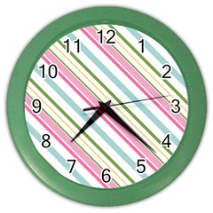Diagonal Stripes Color Rainbow Pink Green Red Blue Color Wall Clocks by Mariart