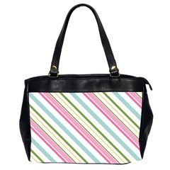 Diagonal Stripes Color Rainbow Pink Green Red Blue Office Handbags (2 Sides)  by Mariart