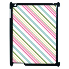 Diagonal Stripes Color Rainbow Pink Green Red Blue Apple Ipad 2 Case (black) by Mariart