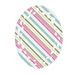 Diagonal Stripes Color Rainbow Pink Green Red Blue Oval Filigree Ornament (two Sides) by Mariart