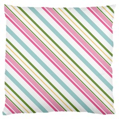 Diagonal Stripes Color Rainbow Pink Green Red Blue Large Cushion Case (two Sides) by Mariart