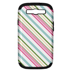 Diagonal Stripes Color Rainbow Pink Green Red Blue Samsung Galaxy S Iii Hardshell Case (pc+silicone) by Mariart