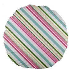 Diagonal Stripes Color Rainbow Pink Green Red Blue Large 18  Premium Round Cushions by Mariart