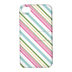 Diagonal Stripes Color Rainbow Pink Green Red Blue Apple Iphone 4/4s Hardshell Case With Stand by Mariart