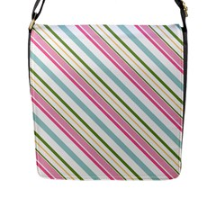 Diagonal Stripes Color Rainbow Pink Green Red Blue Flap Messenger Bag (l)  by Mariart