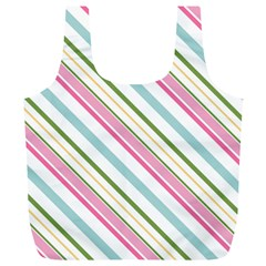 Diagonal Stripes Color Rainbow Pink Green Red Blue Full Print Recycle Bags (l)  by Mariart
