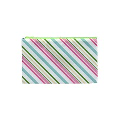 Diagonal Stripes Color Rainbow Pink Green Red Blue Cosmetic Bag (xs) by Mariart