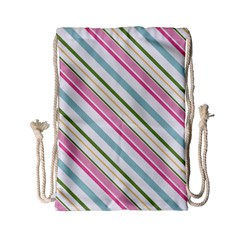 Diagonal Stripes Color Rainbow Pink Green Red Blue Drawstring Bag (small) by Mariart