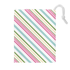 Diagonal Stripes Color Rainbow Pink Green Red Blue Drawstring Pouches (extra Large) by Mariart