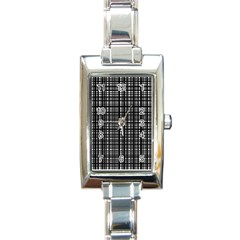 Crosshatch Target Line Black Rectangle Italian Charm Watch by Mariart