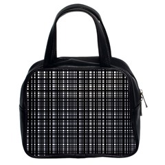 Crosshatch Target Line Black Classic Handbags (2 Sides) by Mariart