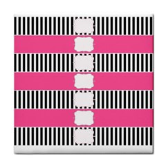Custom Water Bottle Labels Line Black Pink Tile Coasters by Mariart