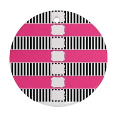 Custom Water Bottle Labels Line Black Pink Ornament (round)
