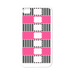 Custom Water Bottle Labels Line Black Pink Apple Iphone 4 Case (white) by Mariart