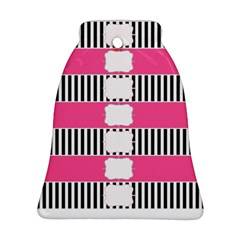 Custom Water Bottle Labels Line Black Pink Bell Ornament (two Sides) by Mariart