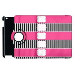 Custom Water Bottle Labels Line Black Pink Apple Ipad 3/4 Flip 360 Case by Mariart