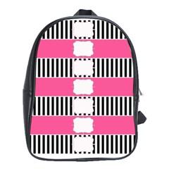 Custom Water Bottle Labels Line Black Pink School Bags (xl)  by Mariart