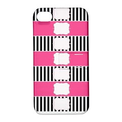 Custom Water Bottle Labels Line Black Pink Apple Iphone 4/4s Hardshell Case With Stand by Mariart