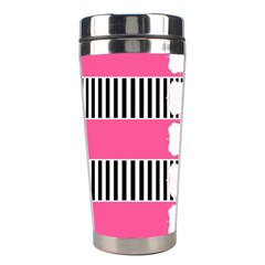 Custom Water Bottle Labels Line Black Pink Stainless Steel Travel Tumblers by Mariart