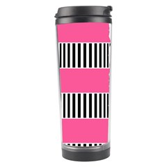 Custom Water Bottle Labels Line Black Pink Travel Tumbler by Mariart