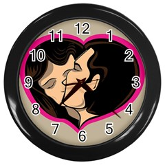Don t Kiss With A Bloody Nose Face Man Girl Love Wall Clocks (black) by Mariart