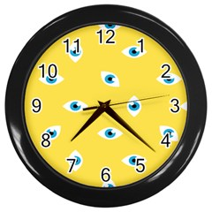 Eye Blue White Yellow Monster Sexy Image Wall Clocks (black) by Mariart